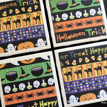 Halloween Coasters, Halloween Decor, Tile Coasters, Coasters, Tile Coaster, Coaster, Table Coasters, Drink Coasters, Coaster Set of 4