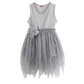 Baby bridesmaid flower girl wedding dress Kids Toddler Baby Girl Clothes Sleeveless Flower Tutu Dress Party Dress 2-7Y