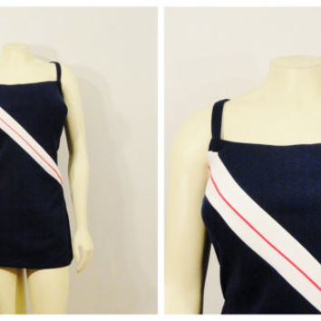Vintage Swimsuit 60s Pin Up Bombshell Bullet Bra Red White Blue Striped Swimsuit Robby Len Union Made in USA Size 44 xxl xxxl