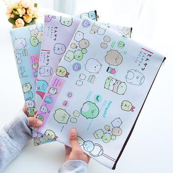1 Piece New kawaii A4 Cartoon Sumikko Gurashi Mamegoma PU Big Capacity File Folder Document Filing Bag Stationery