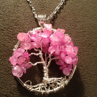 Rose Quartz Tree of Life --Handmade Jewelry Pendant Locket Celtic Goth Spirit Gemstones Wire Wrapped Trees Custom by Just4FunDesign