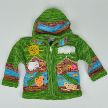 Kid's Nature Scene Hooded Zip Sweater -- Mexicali Blues
