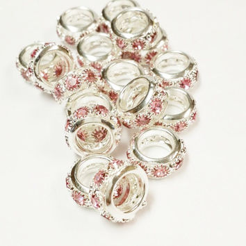 15 Pink and Rhinestone Big Hole Beads, Jewelry Supply, 6x12mm Large Hole Beads,  Jewelry Findings, Pink and Silver Rhinestone Crystal Beads