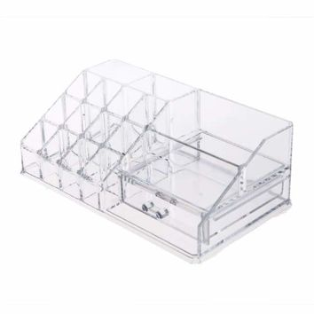 Clear Acrylic Cosmetic Organizer Box Makeup Storage Drawer Desk Bathroom Makeup Brush Lipstick Jewelry Storage Box Holder Case