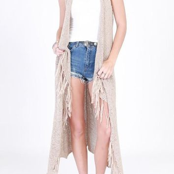 knit long vest with fringe (3 colors)