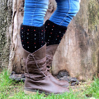 Black Short Square Knit Boot Cuffs with multicolor beads. Short Leg Warmers. Crochet Boot Cuffs. Legwear
