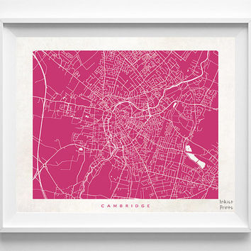 Cambridge Map, Cambridge Print, England Poster, England Art, Art Prints, Wall Art, Giclee Art Poster, Office Wall Decor, Halloween Decor
