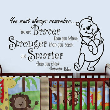 Wall Decals Quotes Vinyl Sticker Decal Art Home Decor Mural Winnie the Pooh Quote - Braver Stronger Smarter - Kids Nursery Baby Room AN180