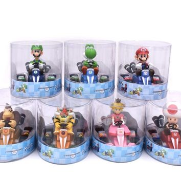 Super Mario party nes switch  Bros Figures 13Cm Japan Anime Luigi Dinosaurs Donkey Kong Bowser Kart Pull Back Car Pvc Figma Kids Hot Toys for Boys AT_80_8