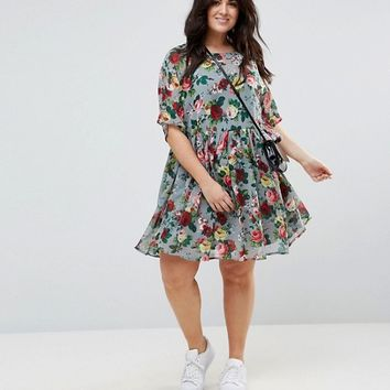 ASOS CURVE Smock Dress in Floral Print at asos.com
