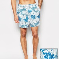 ASOS Swim Shorts In Mid Length With Hibiscus