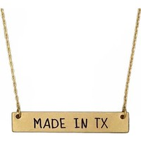 MADE IN TX Bar Necklace, Worn Gold