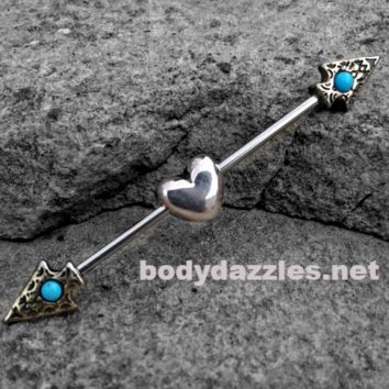 Heart and Arrow Tribal Industrial barbell 14ga Surgical Stainless Steel Ear Bar Body Jewelry