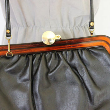 60s black purse.  Bakelite  frame purse. Vintage shoulder bag. Lucite purse. Converible clutch. Mad Men fashion. Black brown.