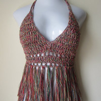 SUMMER SALE Rainbow festival top, cropped fringe top, halter top, gypsy clothing, boho chic, cotton