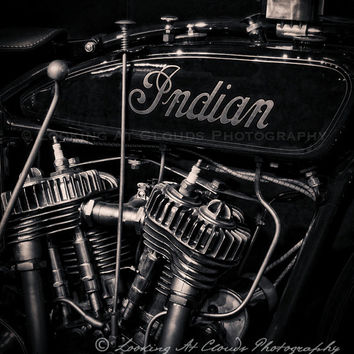 motorcycle decor, vintage Indian motorcycle engine photo, v-twin, Indian Chief motorcycle, retro bike, biker, gear head, retro motorcycle