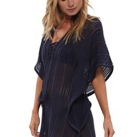 Chicloth Navy Blue Flounce Trim Beach Cover up