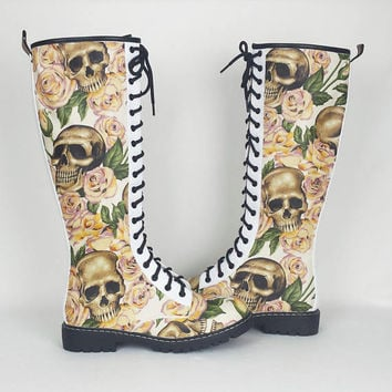 Skull wedding shoes, alternative bride, halloween wedding, knee high boots, skulls and roses, customised boots, women shoes, rock your sole
