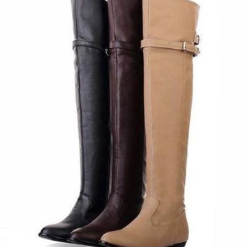 DCK7YE Womens Lovely Knee High Riding Strap City Boots