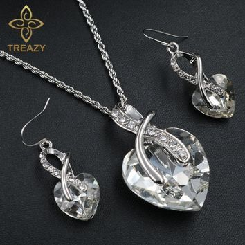 TREAZY Women Jewelry Sets Silver Plated Heart Crystal Pendant Necklace Earrings Female Accessories Wedding Bridal Jewelry Sets