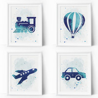 Transportation Wall Art, Boys Nursery Printable, Navy Blue Plane, Air Balloon, Train, Car, Watercolor Nursery, Transportation Wall Art