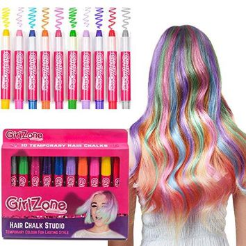 10 Colorful Hair Chalk Pens. Temporary Hair Color for All Ages