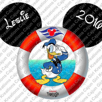 Donald Duck Disney Cruise Life Preserver Mickey Mouse Head Personalized with Name and Date Printable Iron On Transfer Clip Art Tshirts
