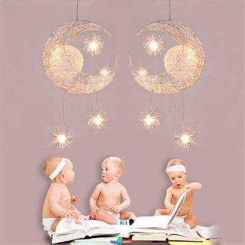 Modern Personalized  Home Decorative Fixture Lighting lamp Moon Star Chandelier Children Bedroom Lustres Hanging Ceiling Lamp