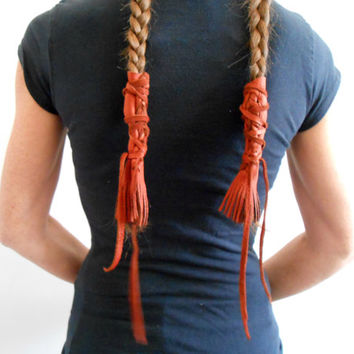 Leather Braid Wraps with Fringe, Native American, Handmade, Powwow, Festival, Hippie, Mountain Man, Rendezvous, Gypsy, Boho, Hair Accessory