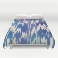 Ikat Splash: Blue Multi Duvet Cover by Eileen Paulino