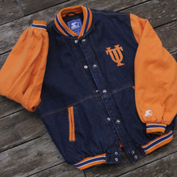 Vintage 90's Denim Starter Jacket University Of Tennessee Vols Size Medium/Large