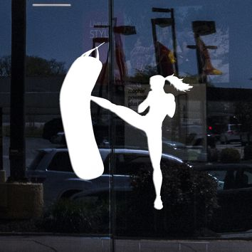 Window Graphic Wall Stickers Vinyl Decal Girl Kicks Punch Bag Box Boxing Fitness Sport Unique Gift (z1802w)