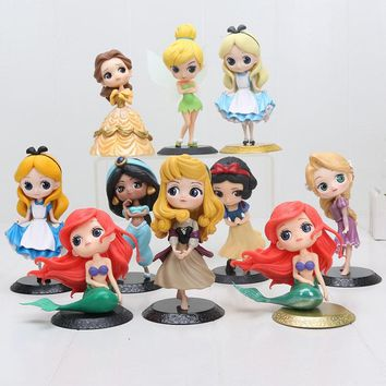 Q Posket Princess Figure Toy Snow White Alice in The Wonderland Ariel The Little Mermaid Beauty Model Dolls