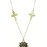 NECKLACE / CROSS / CHARM / PEARL / METAL CHAIN / 18 INCH LONG / 2 INCH DROP / NICKEL AND LEAD COMPLIANT