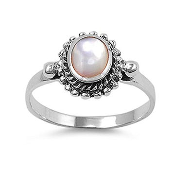 Sterling Silver Women's Simulated Mother of Pearl Ring Polished 925 Band 11mm Size 9 (RNG10986-9)