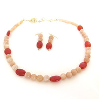 Peach Moonstone necklace and earrings , carnelian and peach moonstone strand, 14 kt gold fill