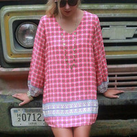 Weekend Retreat Pink Mixed Medallion Print Long Sleeve Tunic Dress