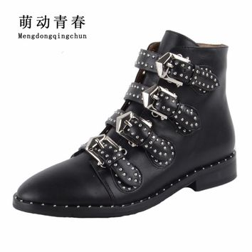 2017 Genuine Leather Ankle Boots Women Shoes Women Suede Pointed Motorcycle Snow Boots Designer Woman Flats Punk Botas Feminios