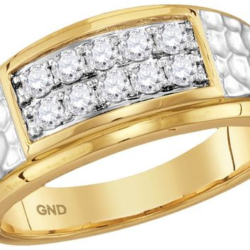 10kt Yellow Gold Mens Round Diamond Cluster 2-tone Hammered Band Wedding Anniversary Ring 1/2 Ctw