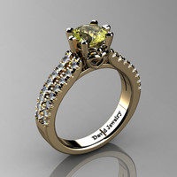 Classic 14K Yellow Gold 1.0 Ct Yellow Topaz Diamond Solitaire Engagement Ring R1027-14KYGDYT