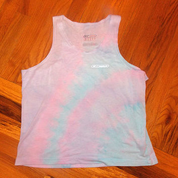 Reebok Brand Hand - Dyed Cotton Candy Colored Workout Tank Top / Women's Workout Clothing