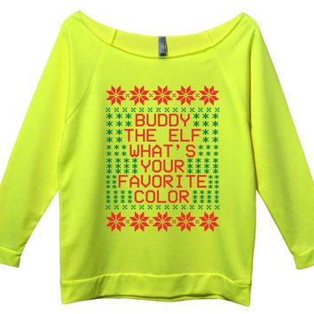 Buddy the Elf Whats Your Favorite Color Womens 3/4 Long Sleeve Vintage Raw Edge Shirt