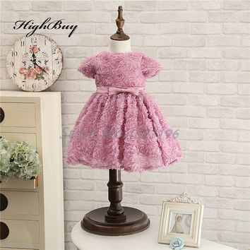 HighBuy 2017 Cute Rose Pink Kids Pageant Party Gown Flowers Zipper Back Flower Girl Dresses Short Baby Girls Christmas Dress