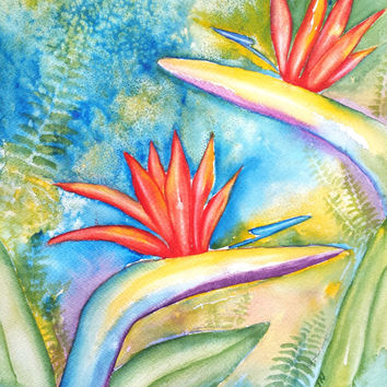 Original Watercolor Painting, Flower, Bird of Paradise, Abstract, 9x12, Floral, Tropical theme, Beach art, Tropical decor