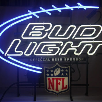 Vintage NEON Bud Light NFL Sign, Large, Barware, Mancave, Antique Alchemy