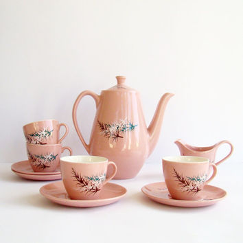 Pink Tea or Coffee Set, Old Foley, James Kent, Oregon Pine Pattern, English China, Coffee Pot, Cups and Saucers, Milk Jug, Pretty China,