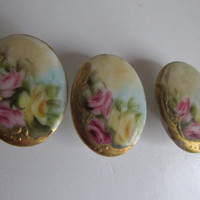 Rare Set Matching LARGE Victorian Antique Porcelain Buttons Hand Painted Porcelain Rose Buttons Antique Buttons Hand Painted Roses Gold Gilt