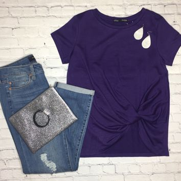 Women's Basic Knot Top Purple