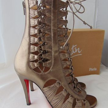 $2495 CHRISTIAN LOUBOUTIN Azimut Caged Gladiator Sandal Ankle Boots Booties 36 5