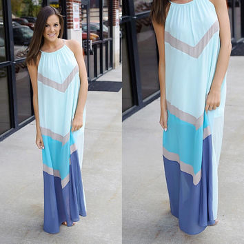 Multi-Colored Wavy Pattern Halter Maxi Dress